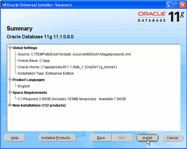 Cài đặt Oracle Database 11g trên Windows (4/6)